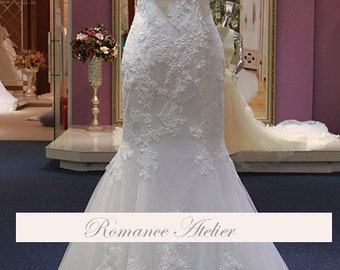Lace, Floral, Wedding Gown, Lace, Bridal Gown, Straps, White, Ivory, Weddings, Chapel, Dramatic, Train, Tulle,