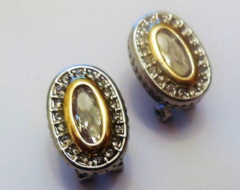 Vintage Stud Earrings Rhinestone Silver Tone Metal Women's Fashion Accessories Costume Jewelry Sparkly