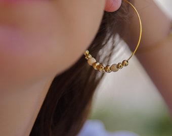 Gold beaded hoops with wood / Dainty earrings / Earrings gift