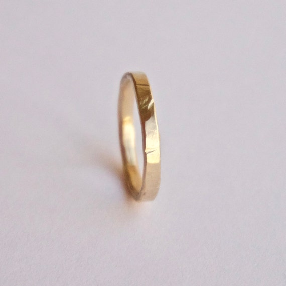 Gold Wedding Ring - 18 Carat - Flat Hammered Texture