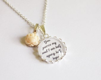 Jane Austen quote necklace. sense sensibility. Pride Prejudice. Mansfield. Emma. Northanger. Persuasion. Personalized