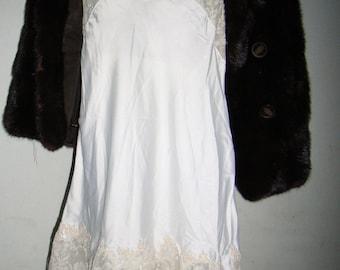vintage- lace slip dress 70s- evening , coktail party