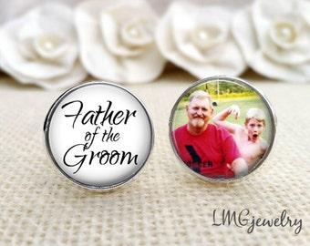 Custom Photo Father of the Groom Cufflinks, Personalized Wedding Cufflinks, Father of the Groom Gift, Wedding Gift, Father of the Groom