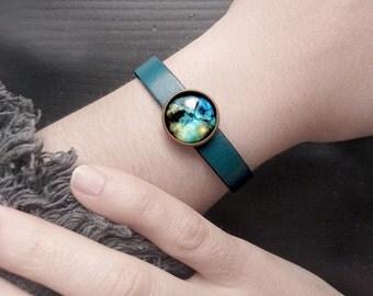 Blue Universe bracelet, Galaxy cuff, Space petrol blue leather bracelet, Blue green cosmos jewelry, Glass dome nebula bracelet UJ 054