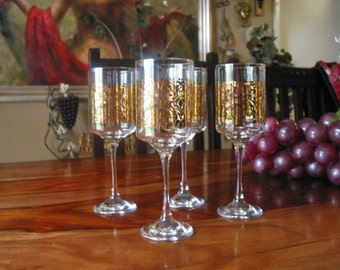 Rare And Beautiful Vintage Libby Gold Gilt Stemware Set of Seven