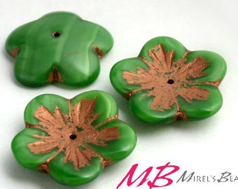 Extra Large Flower, Green with Stripes and Copper Finish, Czech Glass Beads, 4 pc Flat Flower, 23mm Beads