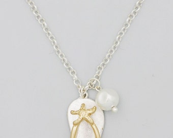 Satin Finish Silver Tone Flip Flop and Faux Pearl Charm Necklace