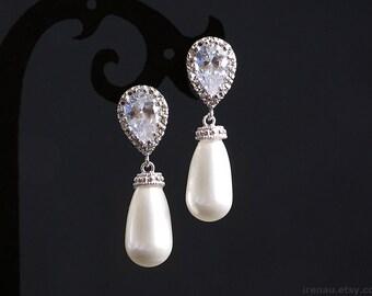 Bridal pearl earrings, Wedding pearl earrings CZ Cubic Zirconia silver teardrop white pearl earrings dangle 925 sterling silver gift for her