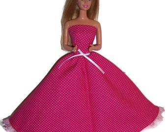 Fashion Doll Clothes-Bright Pink Polka Dot Strapless Dress