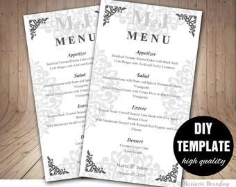 Silver Menu Template,DIY Wedding Menu Card 4X7,Silver Wedding Menu Template Instant Download,Printable Wedding Menu,Grey Menu