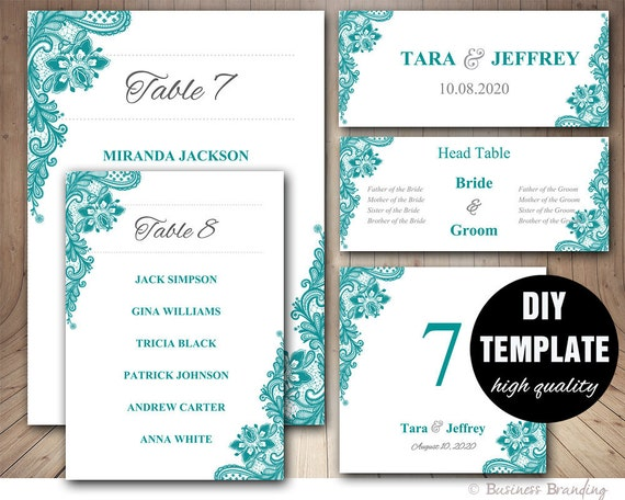 teal wedding seating chart template wedding place card. Black Bedroom Furniture Sets. Home Design Ideas