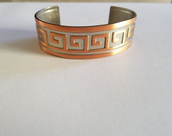 Vintage Copper Cuff with Greek Design