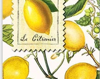 Two (2) Lemons, Citrus Paper Hostess Napkins for Decoupage and Paper Crafts