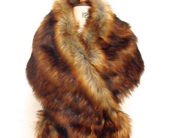 Fur Stole - Brown Fox Fur Shrug - Bridal Bridesmaids Wedding Fur Bolero Wrap - Faux Fur Cape Shrugs Cover Ups - gift for her - Made in UK