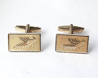 9ct Gold On Silver Cufflinks | Vintage 1970's Swivel Back Cuff Links | Hallmarked Sterling Silver 1975 | Rectangle Cufflinks
