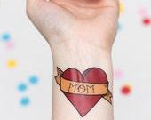 Heart Temporary Tattoo, Customizable Heart Tattoo, Mother's Day Tattoo, Valentine's Temporary Tattoo