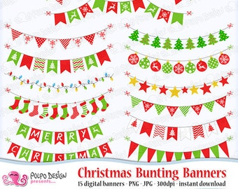 Christmas bunting banners clipart. Digital clip art. Commercial & personal Use. Instant Download. Red green xmas garland banner tree lights
