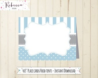 blue place cards printable baptism food tents baby shower food tents baptism place cards baby shower cards communion instant download 106