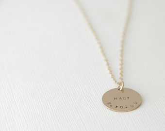 Name and Date 16mm Round Disc Initial Necklace, 1 2 3 4 5, Gold Filled