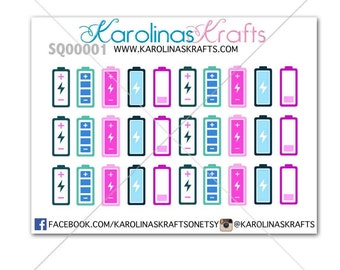 30 Battery Stickers  / Charge Battery ! Perfect for your Erin Condren Life Planner, Filofax, Kikkik, Plum Paper, planner! #SQ00001