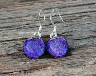 Purple dangle earrings, glass long earrings, Dichroic earrings, glass dange earrings, purple earrings, drop earrings