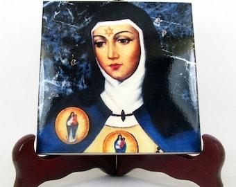 Saint Beatrice of Silva - St Beatrice - St Beatriz - catholic icon on ceramic tile - religious art - catholic art - tile art  religious gift