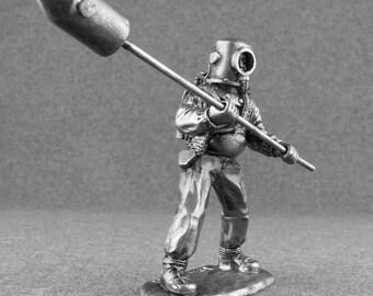 Japanese Soldier Story Toys 1/32 Scale Navy Diver Fukuryu World War 2 Historical Unpainted 54mm Metal Miniature Antique Figure Model