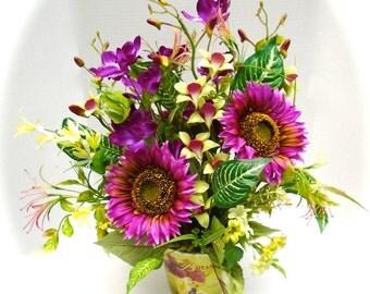 Silk Floral Table Arrangement, Summer Floral Centerpiece, Floral Arrangement