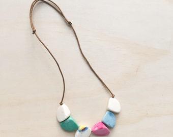 SALE! Handmade Beaded Statement Resin Necklace / Adjustable Length - Matte Finish