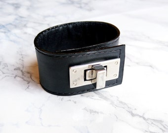 Womens Leather Cuff Bracelet, Black Leather Bracelet, Handmade Leather Jewelry