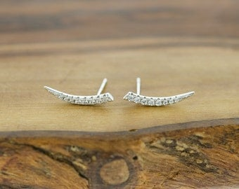 925 Sterling Silver CZ Horn Earrings