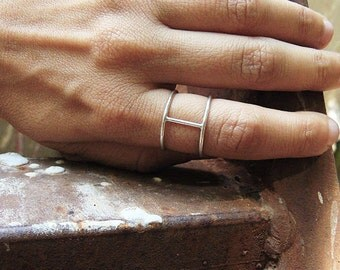 Minimal ring. Sterling silver wire double shank ring. Architectural, handmade jewelry