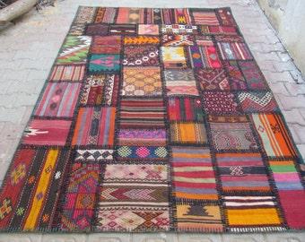 "Turkish Kilim patchwork,area Rug -Hand stitched 94""x64""turkey rug"