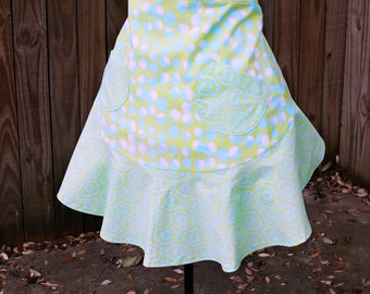 Half Apron with fun flirty skirt in Lime Green and Aqua