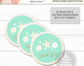 Printable Party Favor Tags - Thank You Tags - Wedding Favor Tags - Gift Tags - Seashells Beach - Wedding - Instant Download - LR1000