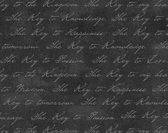 Black Script Fabric, Windham Keys 40040-1, Whistler Studios, Key Text Fabric, Black and Gray Fabric, Words Quilt Fabric, Cotton