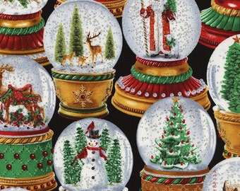 Silver Glitter Snow Globe Christmas Fabric, Timeless Treasures Fabric Holiday CM3198, Snowglobe, Christmas Quilt Fabric, Holiday Cotton