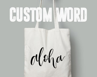 market canvas tote bag // custom word