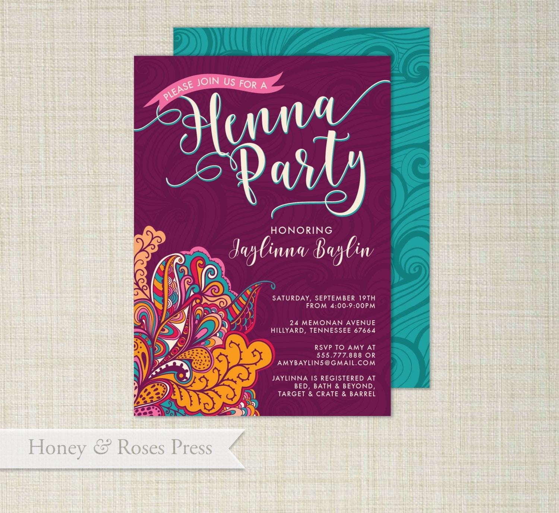 Mehndi Party Invites : Henna party invite moroccan wedding shower boho