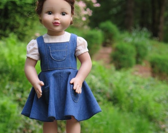 18 Inch Doll Denim Dress & Blouse - American Made 18 Inch Doll Clothes -Doll Gardening Outfit - Doll Summer Dress - Retro Vintage Doll Dress
