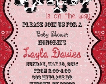 4x6 or 5x7 Cowboy Baby Shower Invitation Digital and Printable on your own!