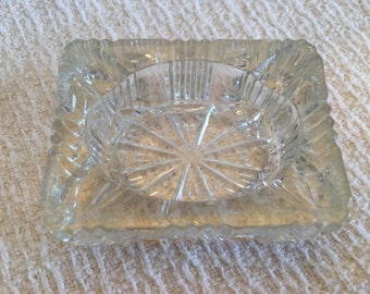 Cut Glass Ashtray, Crystal Ashtray, Rectangular Glass Ashtray, Glass Ashtray, Vintage Cut Glass Ashtray, Cigarette Ashtray