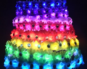 Rainbow LED Flower Crown with LEDs  Light up flower crown For music festivals EDC Raves electric forest rave outfit