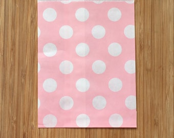 Light Pink Polka Dot Paper Party Bags  (10 bags/pack)