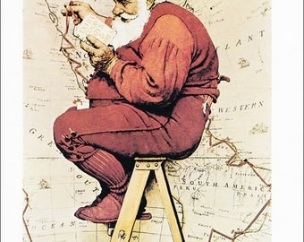 Norman Rockwell Christmas vintage fine art print Santas Route Map Santa 1939 8.5x11.5 inches