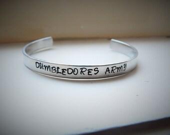 Dumbledores Army, Hand Stamped Aluminium Cuff Bracelet