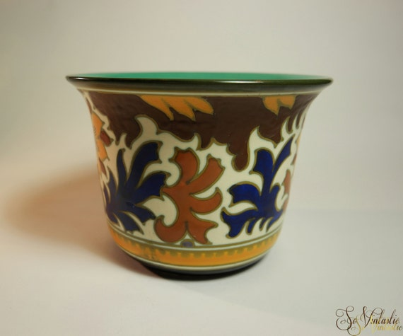 Royal Dutch Gouda Pottery Cache Pot Flower Pot Pattern