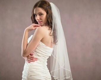 Pencil edge wedding veil, one tier bridal veil with soutache edging - Russia braid veil, bridal illusion tulle veil
