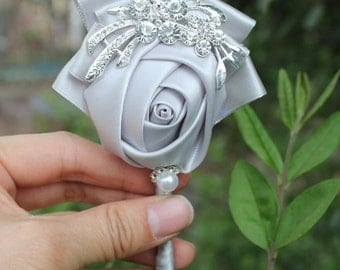 Silver Rose Boutonniere  - Available in different colors