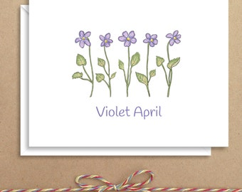 Violet Note Cards - Floral Note Cards - Folded Note Cards - Personalized Stationery - Thank You Notes - Illustrated Note Cards